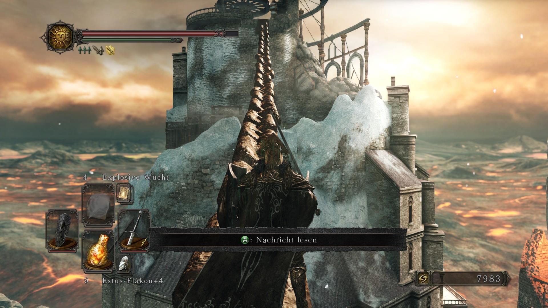 Über die Ketten zwischen den Gebäuden kann man sogar (besser vorsichtig) laufen – Crown of the Old Iron King – DLC
