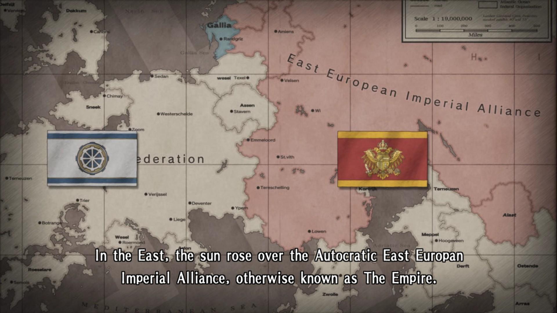 Das fiktive Europa (sogar die Küsten sind irgendwo ähnlich aber anders) mit Föderation, Imperium und dem winzigen Gallia im Norden.