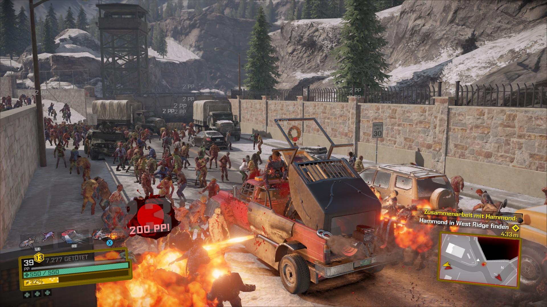 Mit eingebautem Flammenwerfer an unserem Fahrzeug heizen wir den Zombies ordentlich ein.