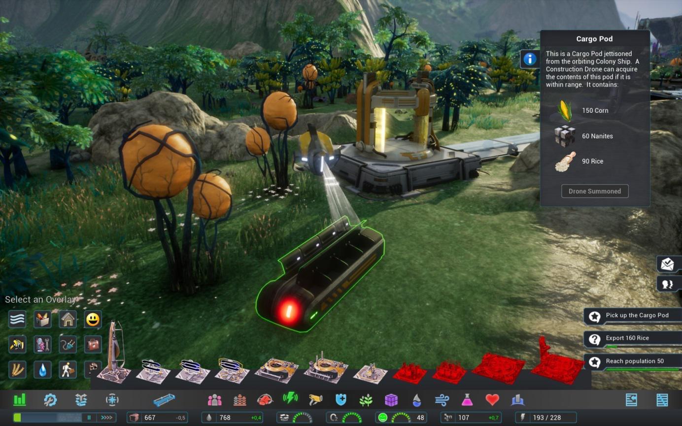Manchmal findet sich ein Cargo Pod in der Landschaft, den kann man mit seinen Drohnen nach Goodies durchsuchen.