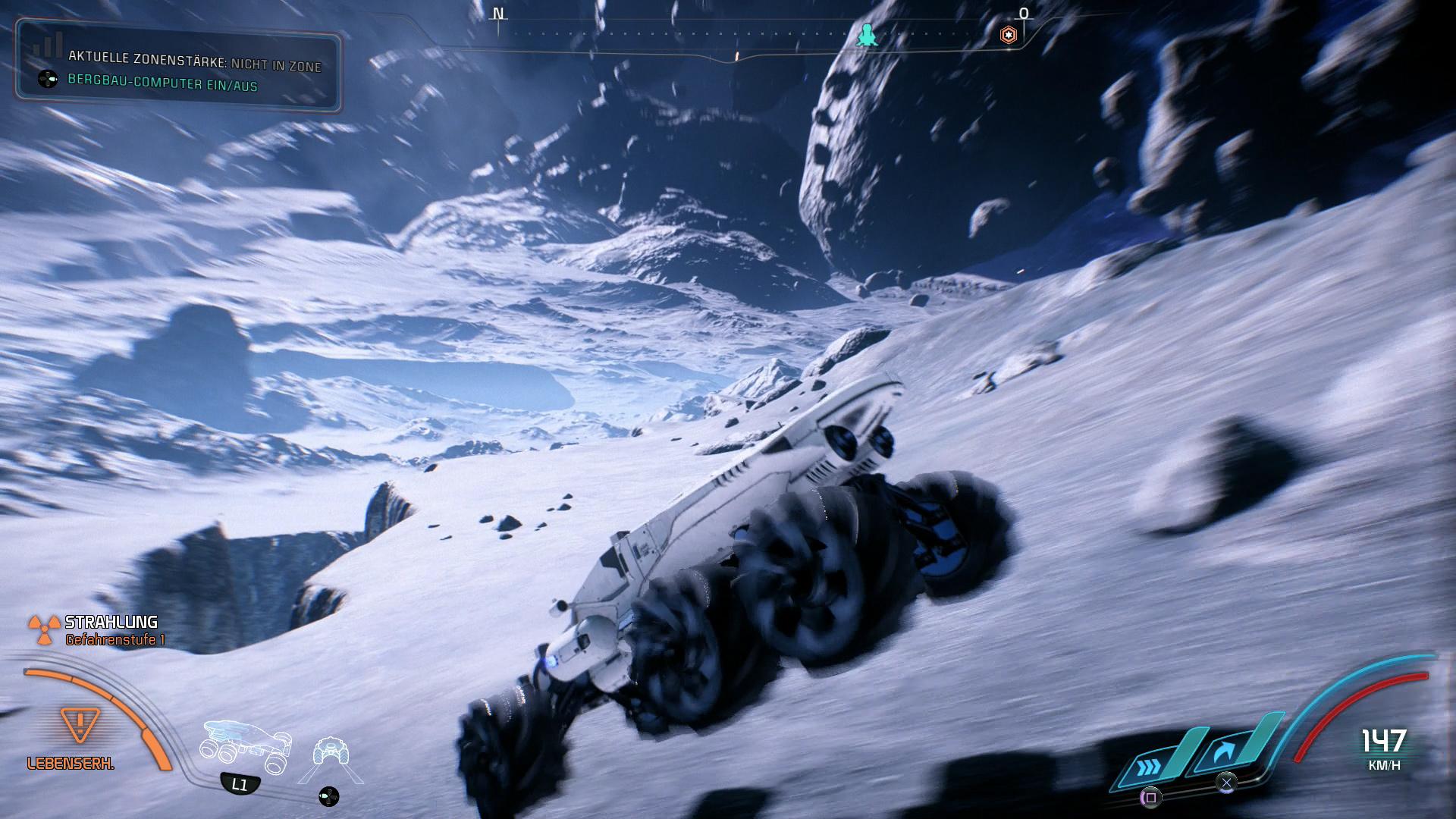 Hier sind wir auf einem Asteroiden unterwegs, was dank verminderter Schwerkraft viel Spaß bereitet.