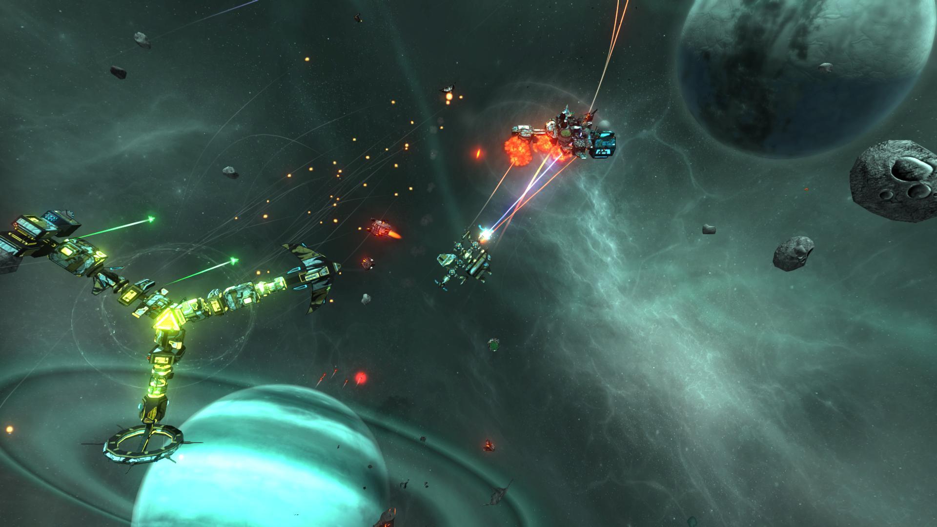 Ein Kampf beginnt! Die Sternbasis liefert Unterstützungsfeuer. In Teil 1 konnte der Spieler keine Sternbasen bauen. Das dies in Teil 2 möglich ist, ist ein aufregendes Feature.