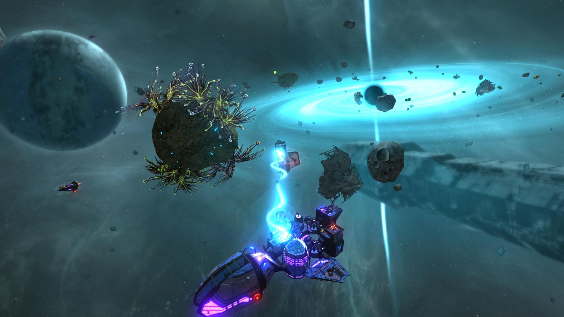 Hier zieht der Spieler mit dem Traktostrahl eine Komponente an sein Schiff. Anders als im ersten Teil sind die Schiffe des zweiten Teils nicht vorgefertigt sondern Modular! Der Spieler wird viele Freiheiten haben sein Traumschiff zu bauen und kann sogar die Farbe der Lichter bestimmen.
